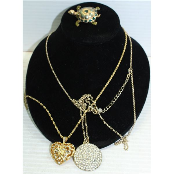 GOLD TONE NECKLACES & TURTLE BROOCH ALL TOGETHER