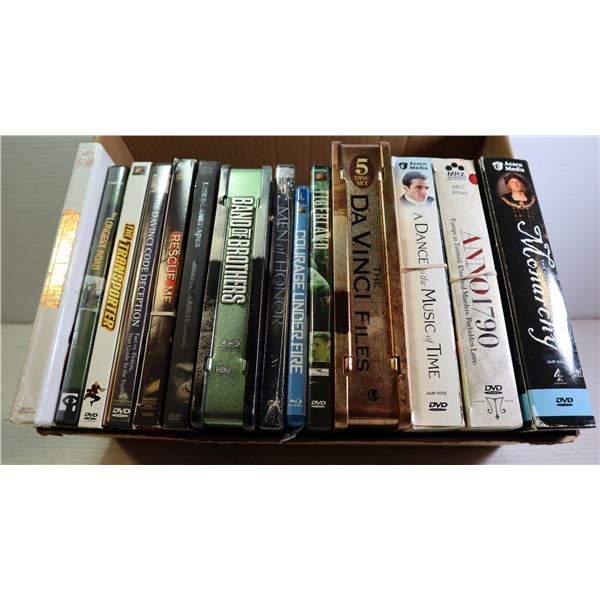 BOX OF DVD'S INCLUDES BAND OF BROTHERS