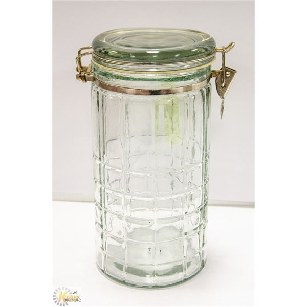"10"" TALL MASON STYLE JAR WITH DESIGN"
