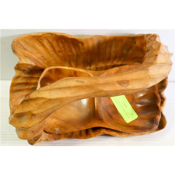 HAND CARVED WOODEN TRAY & CANDY DISH