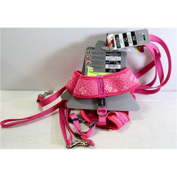 """NEW 2 DOG HARNESS, 2 LEASH  PINK 16-20"""" CHEST"""
