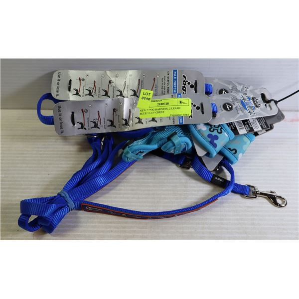 """NEW 2 DOG HARNESS, 2 LEASH  BLUE 11-13"""" CHEST"""