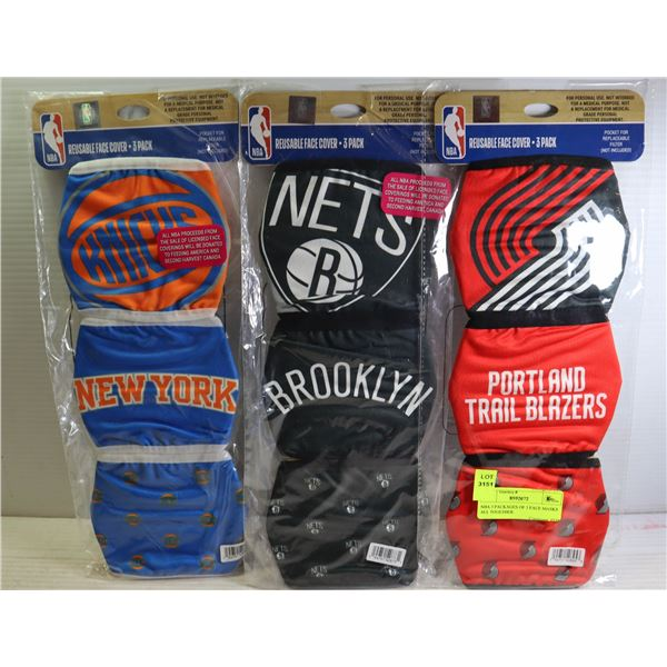 NBA 3 PACKAGES OF 3 FACE MASKS ALL TOGETHER