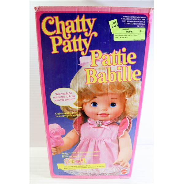 1970'S VINTAGE CHATTY PATTY DOLL WITH ALL