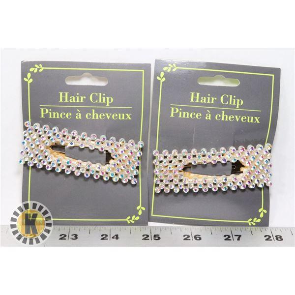 2 NEW RHINESTONE HAIR CLIPS