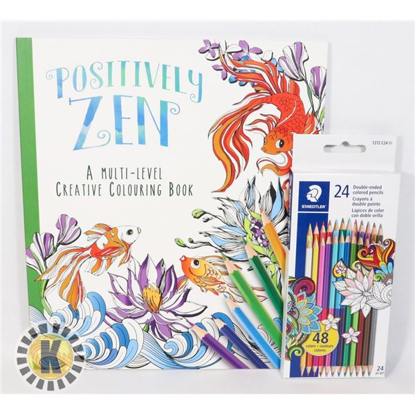 POSITIVELY ZEN COLORING BOOK WITH 24 DOUBLE ENDED