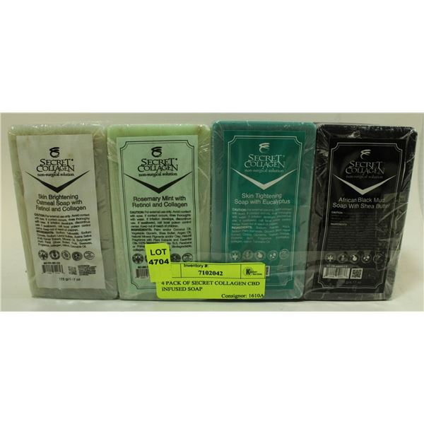 4 PACK OF SECRET COLLAGEN CBD INFUSED SOAP