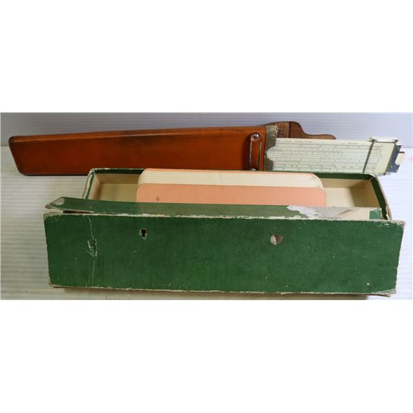 OLD SLIDE RULE IN LEATHER CASE AND BOX