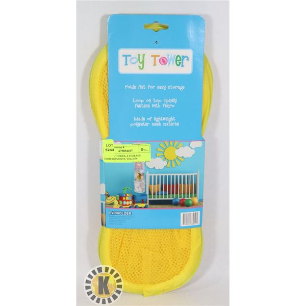 NEW TOY TOWER, 4 STORAGE COMPARTMENTS, YELLOW