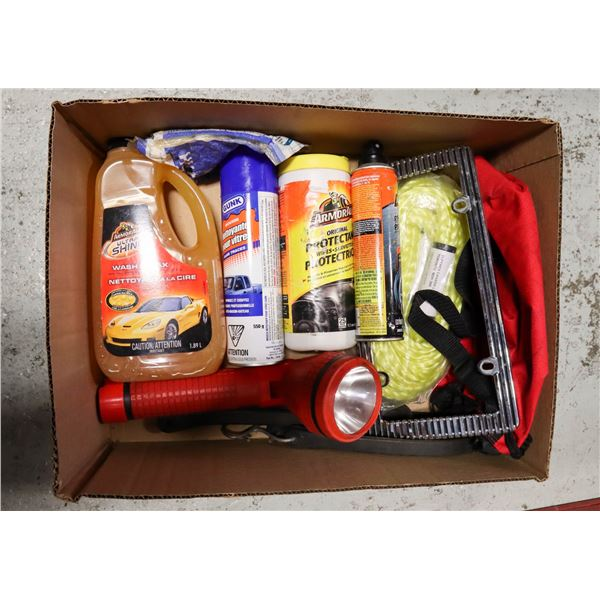BOX OF NEW AUTOMOTIVE SUPPLIES AND TOOLS -