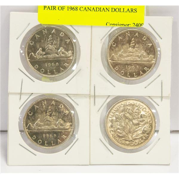 LOT OF 3 X 1968 CANADIAN DOLLARS + 1970 MANITOBA