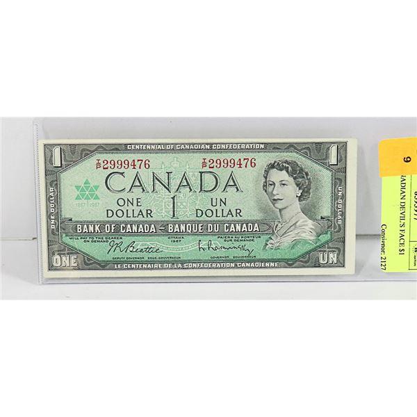 1967 CANADIAN DEVIL'S FACE $1 BILL