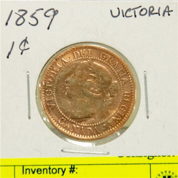 1859 NARROW 9 VICTORIA 1 CENT