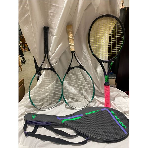 3 tennis racquets and one case