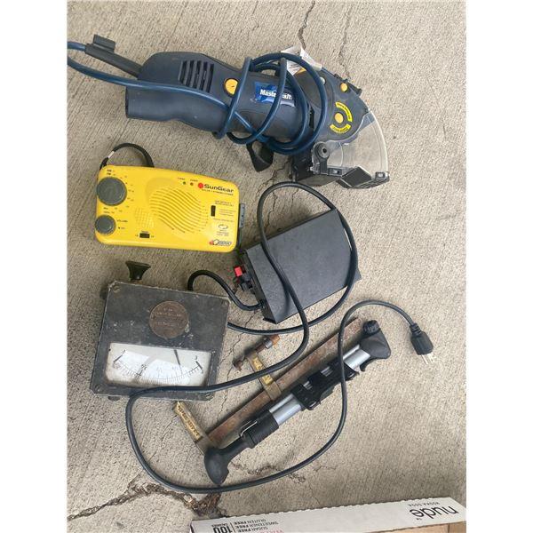 Assorted tools and radio