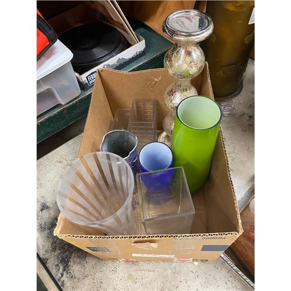 Lot of vases and a candle holder