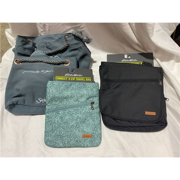 Two Eddie Bauer new travel bags abs two other bags