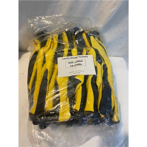 New 10 pack size large latex work gloves