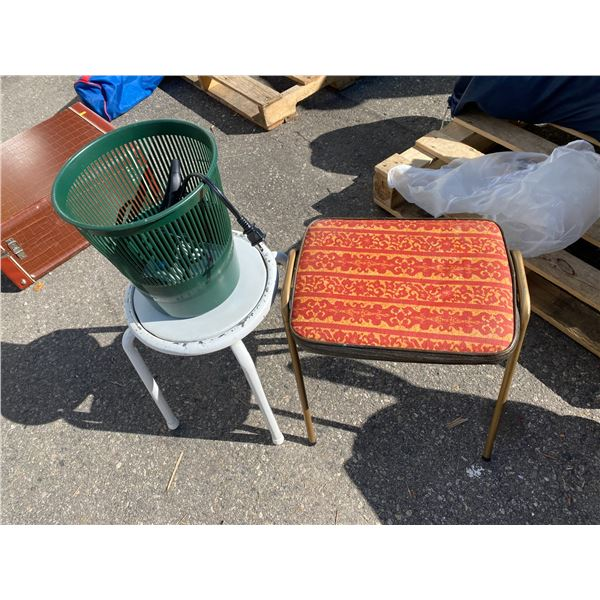 Two stools and garbage can