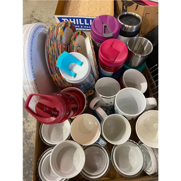 To go mugs and paper plates etc