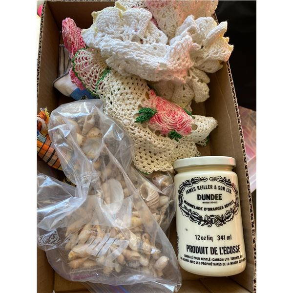 Dolies, shells and jar