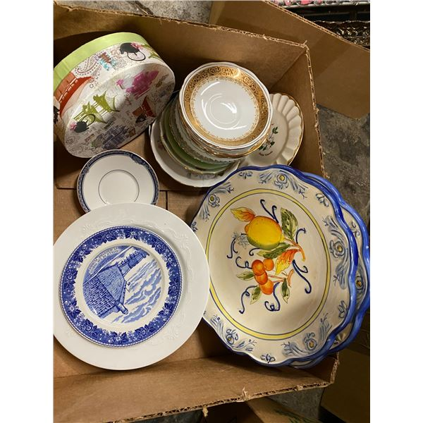 Assorted collectible plates and saucers