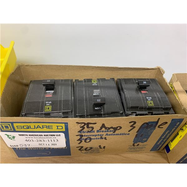 BOX OF SQUARE D BREAKERS SEE PICTURES FOR DETAILS