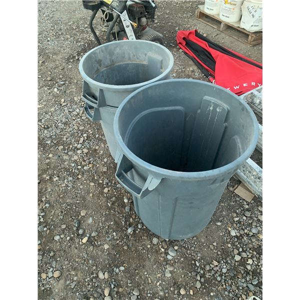 3 USED GREY RUBBERMAID GARBAGE CANS