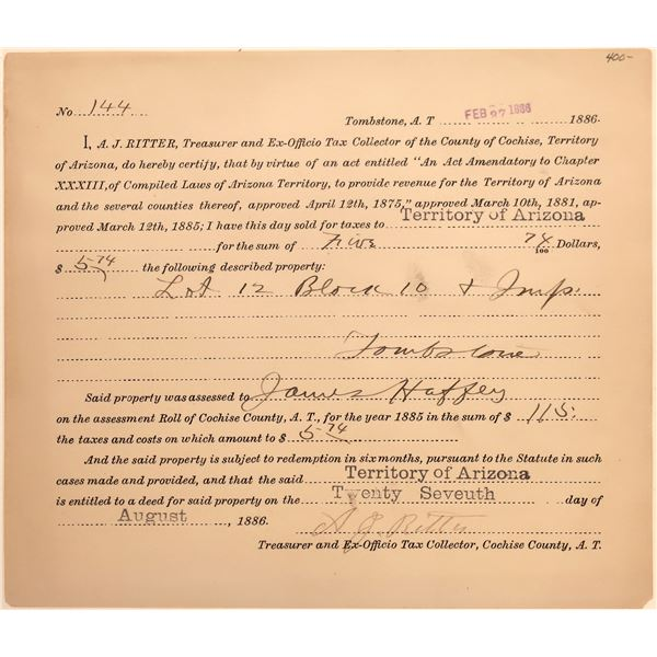 Tombstone, A.T. Property Tax Document  [140500]