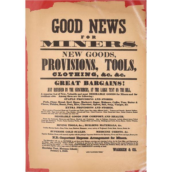 Mormon Island Store Broadside Reprint   [127014]
