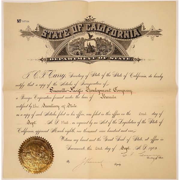 Elegant Articles of Incorporation Greenville-Pacific Development Company Document  [138505]