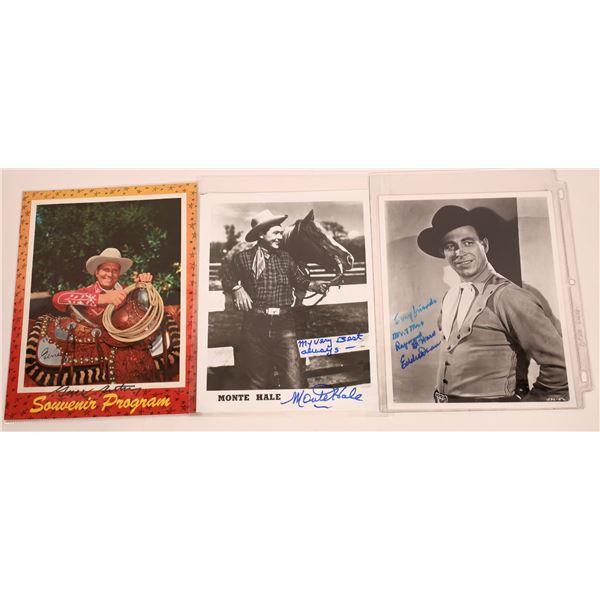 Gene Autrey, Eddie Dean & Monte Hale Inscribed & Signed Photos (4)  [128964]