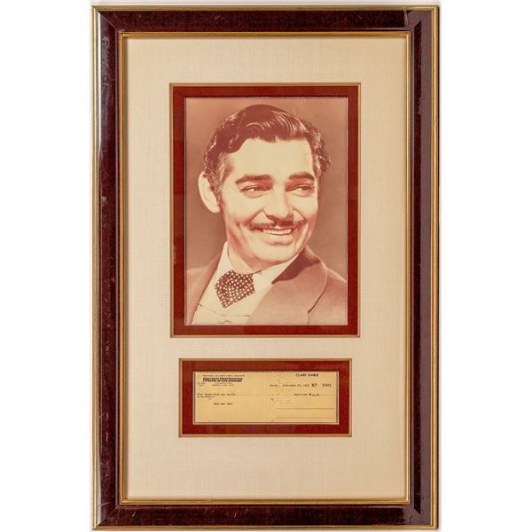Clark Gable Signed Check Framed with Photo  [141064]