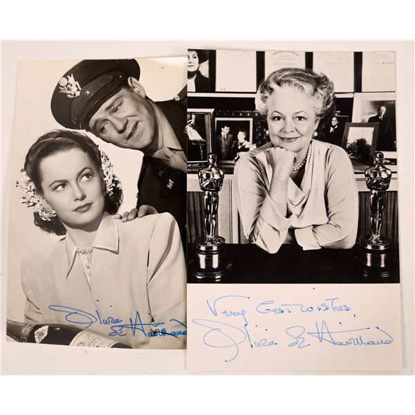 Olivia de Havilland Signed Photos (2)  [131738]