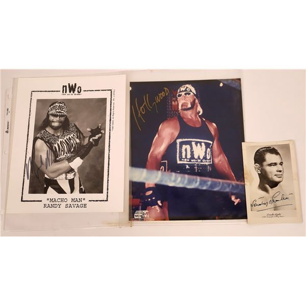 Three Signed Pro Wrestler Photos (3)  [128961]