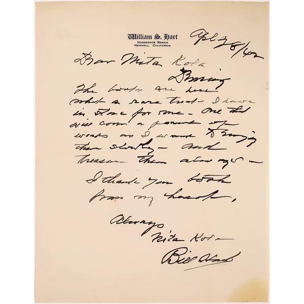 William S. Hart Handwritten Letter  [131740]