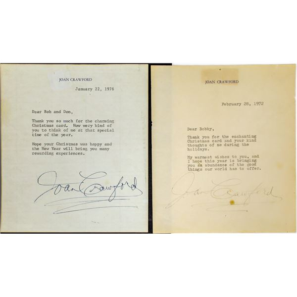 Two Signed Joan Crawford Christmas Letters (2)  [127687]