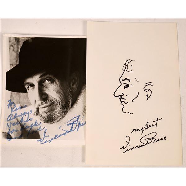Vincent Price Signed Self Portrait Sketch & Signed Photo  [131735]