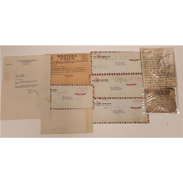 Disney Family Mail Covers & Letters, including from Walt's Mom (8)  [141066]