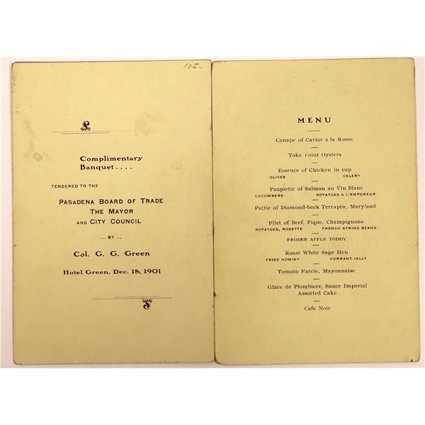 Original Program for 1901 Banquet held at the Hotel Green   [138227]