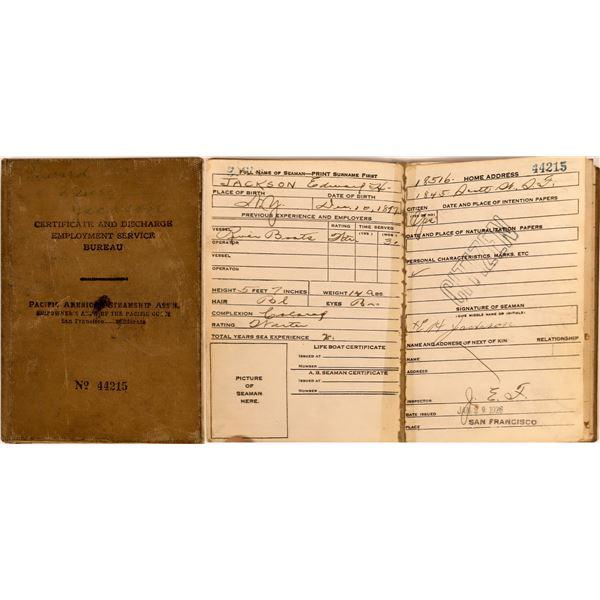 Merchant Service Steamship Discharge Record Book  [140497]