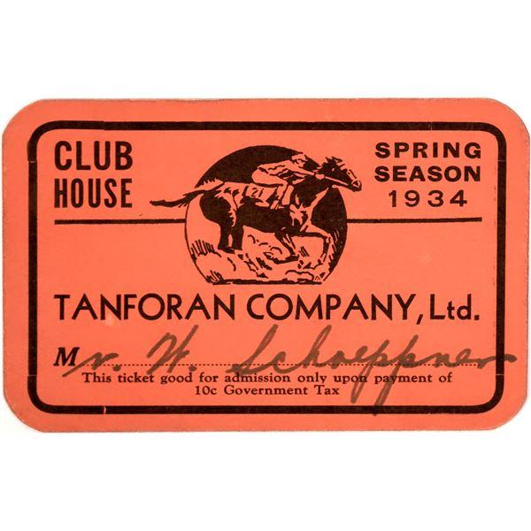 Tanforan Co. Horse Club, 1934 Pass  [141156]