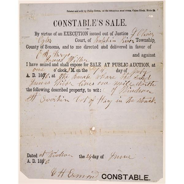 Sonoma County Constable's Sale Broadside for E. A. Fargo  [138483]