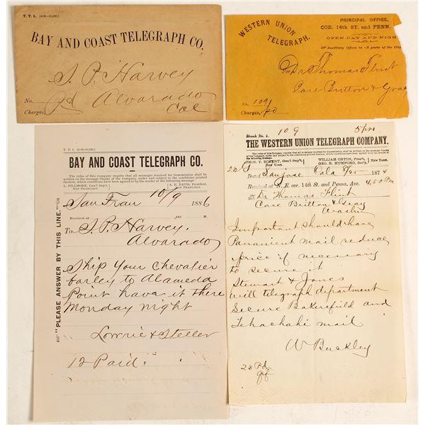 Two Bay Area Telegraph Receipts w/ Envelopes (Alvarado & San Jose)  [138277]