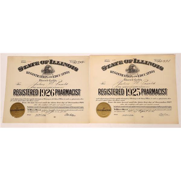 Registered Pharmacist License 1925 & 1926 Certificates  [138529]