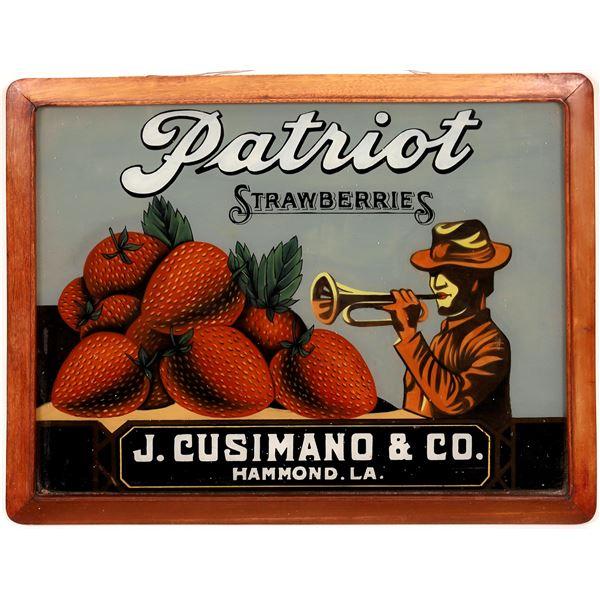Patriot Strawberries, Cusimano & Co., Hammond, LA Reverse Glass Sign  [141136]