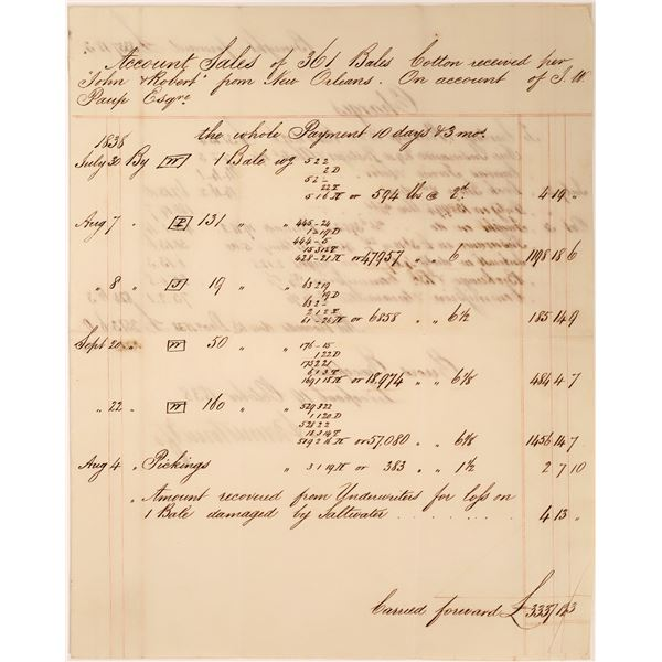 Louisiana Cotton Bales Letter Dated 1838  [139220]