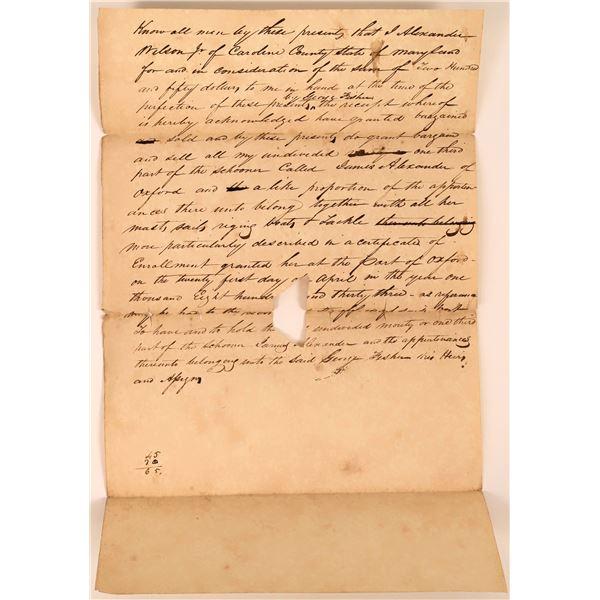 Rare Schooner Sale (James Alexander of Oxford) Letter, Maryland, 1833  [130227]