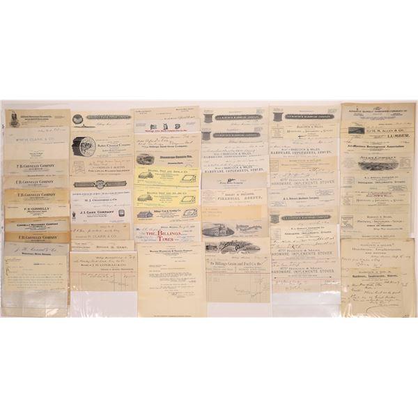 Billheads, Letterheads & Receipts of Billings (Approx. 110)  [128077]