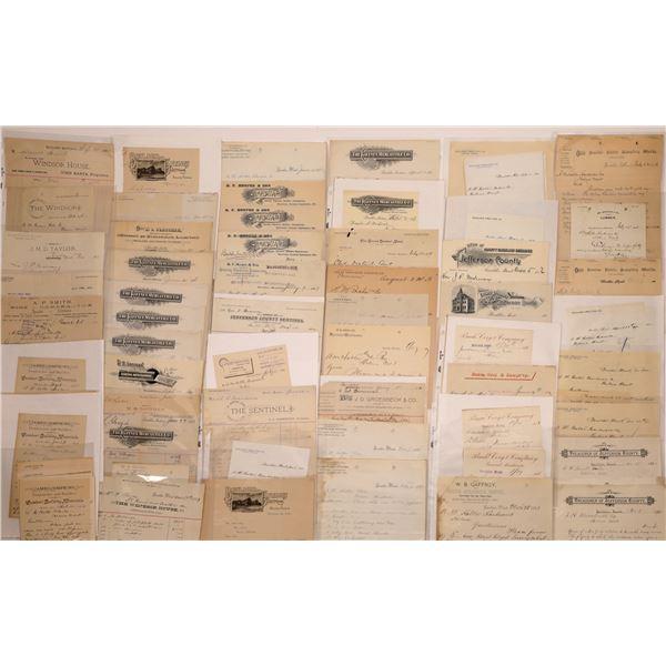 Boulder, MT Billheads, Letters & More (Approx. 75)  [128986]